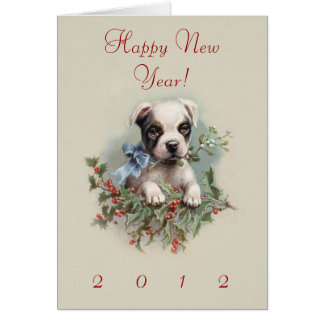 Boston Terrier Puppy - Cute Vintage New Year's Dog Card