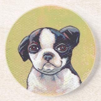 Boston Terrier puppy dog adorable cute art Drink Coaster