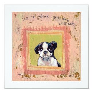 """Boston Terrier puppy dog adorable cute art 5.25"""" Square Invitation Card"""
