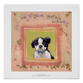 Boston Terrier puppy dog adorable cute art Posters