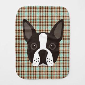 Boston Terrier Puppy Dog Tartan Plaid Burp Cloth