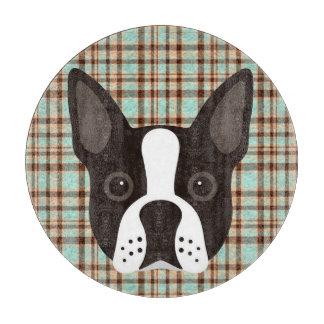 Boston Terrier Puppy Dog Tartan Plaid Cutting Board