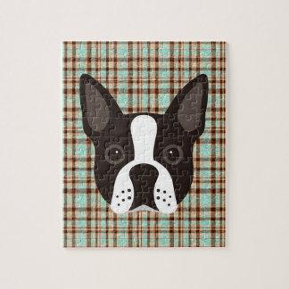 Boston Terrier Puppy Dog Tartan Plaid Jigsaw Puzzle