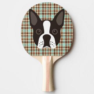 Boston Terrier Puppy Dog Tartan Plaid Ping Pong Paddle