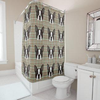 Boston Terrier Puppy Dog Tartan Plaid Shower Curtain