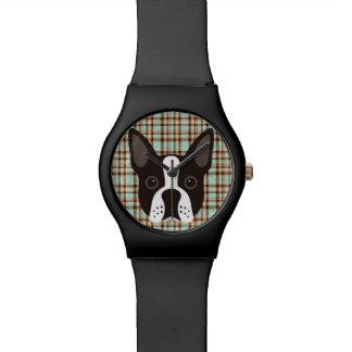 Boston Terrier Puppy Dog Tartan Plaid Watch