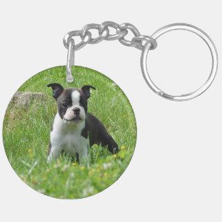 Boston Terrier Puppy in Meadow Acrylic Keychain