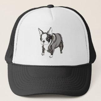 Boston Terrier Puppy in Tracksuit Trucker Hat