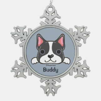 Boston Terrier Puppy Pewter Snowflake Ornament