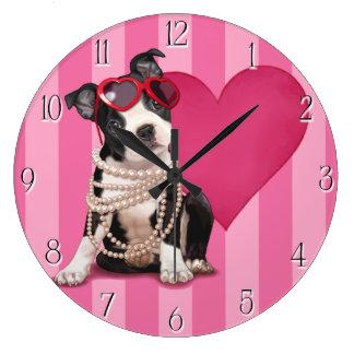 Boston Terrier Puppy Wall Clocks