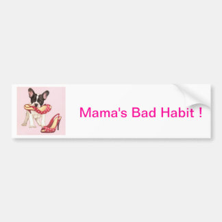 Boston Terrier Puppy With Shoes Car Bumper Sticker
