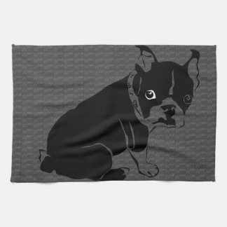 Boston Terrier puppy Woof Hand Towels