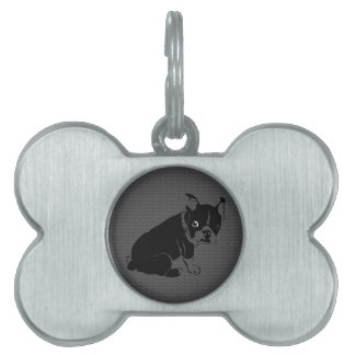 Boston Terrier puppy Woof Pet ID Tag