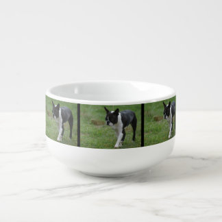 Boston Terrier Puppy Soup Bowl With Handle