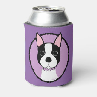 Boston Terrier Purple Can Cooler