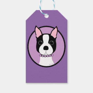 Boston Terrier Purple Gift Tags