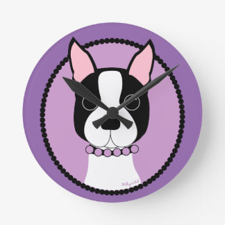 Boston Terrier Purple Round Clock