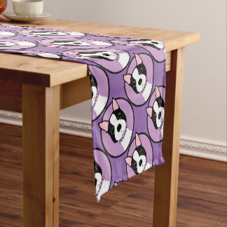 Boston Terrier Purple Short Table Runner