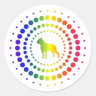 Boston Terrier Rainbow Studs Classic Round Sticker