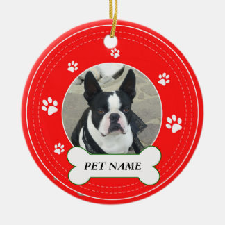Boston_Terrier Red Paws Print Ceramic Ornament