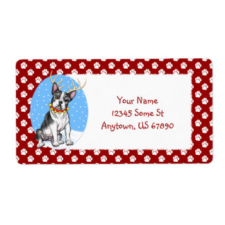 Boston Terrier Reindeer Labels