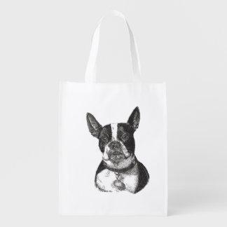 Boston Terrier Reusable Grocery Bag