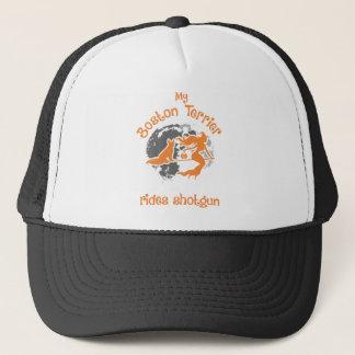 Boston Terrier Rides Shotgun Halloween Trucker Hat