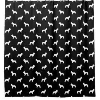 Boston Terrier silhouette dog shower curtain