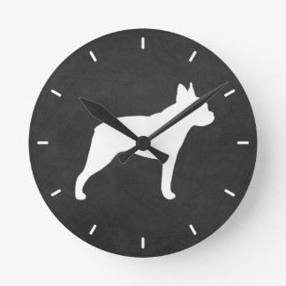 Boston Terrier Silhouette Round Clock