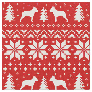 Boston Terrier Silhouettes Christmas Pattern Fabric