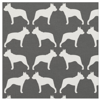 Boston Terrier Silhouettes Pattern Fabric