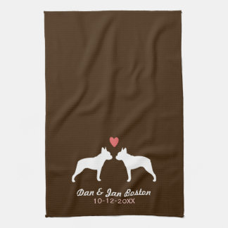 Boston Terrier Silhouettes with Heart and Text Hand Towels