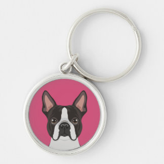 Boston Terrier Silver-Colored Round Key Ring