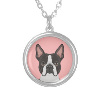 Boston Terrier Silver Plated Necklace