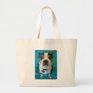 Boston Terrier sitting on a bed Jumbo Tote Bag