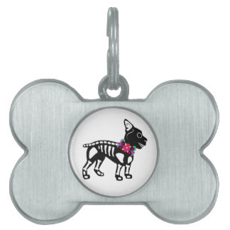 Boston Terrier Skeleton Pet ID Tags