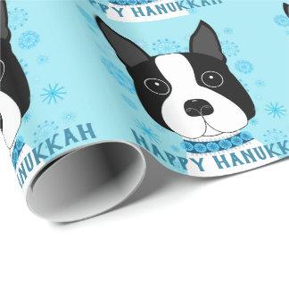 Boston Terrier Snowflakes Hanukkah Wrapping Paper
