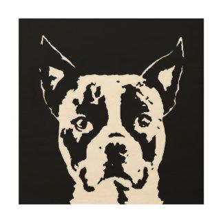 """Boston Terrier Stencil Wood 12""""x12"""" Wall Art"""