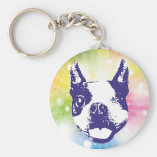 Boston Terrier Sunburst Basic Round Button Key Ring