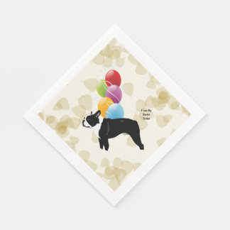Boston Terrier Tan Leaves and Balloons Paper Napkins