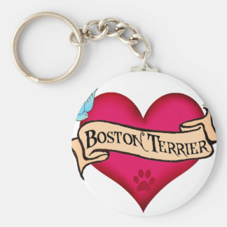 Boston Terrier Tattoo Heart Key Ring