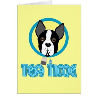 Boston Terrier Tea Party Greeting Card