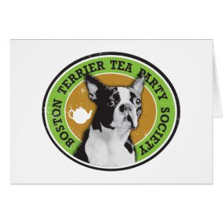 Boston Terrier Tea Party Society Greeting Card