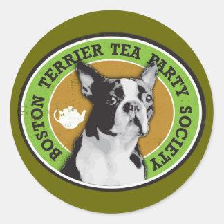 Boston Terrier Tea Party Society Stickers
