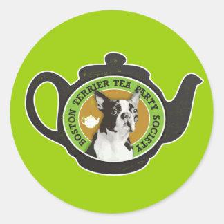 Boston Terrier Tea Party Society Round Sticker