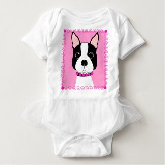 Boston Terrier Toddler Girls Ruffle Shirt