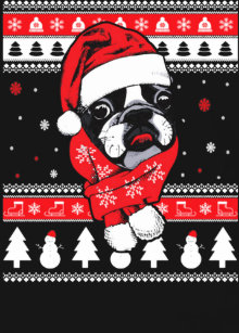 Boston Terrier Christmas Sweater.Boston Terrier Christmas T Shirts Shirt Designs Zazzle