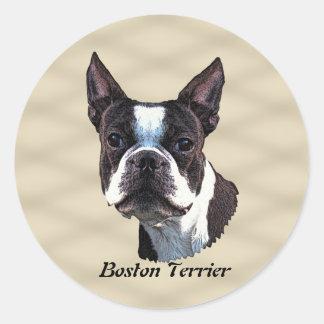 Boston Terrier v3 Round Sticker