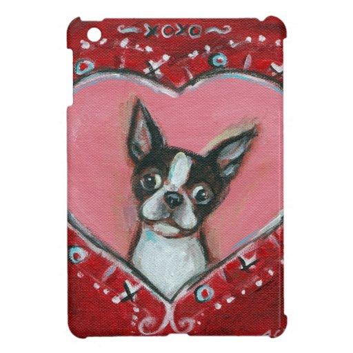 Boston Terrier Valentine xoxo Love hearts iPad Mini Cover