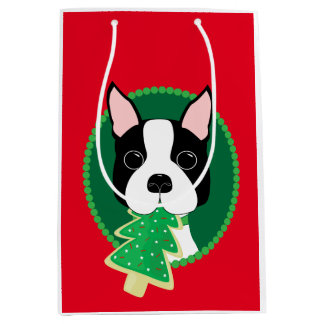 Boston Terrier Whimsical Christmas Medium Gift Bag
